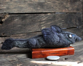 Needle Felted Buck Toothed Ghost Shark, Needle Felted Hydrolagus erithacus has rabbit-like teeth