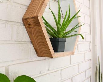 Hexagon Shelf - Wood Floating Shelf - Hexagon Shelves - Geometric Shelves - Geometric Shelf - Floating Shelves - Honeycomb Shelf