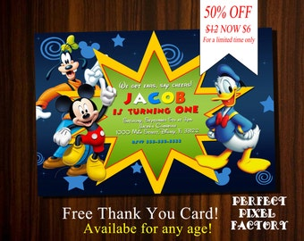 Mickey Mouse Invitation, Mickey Mouse Clubhouse invitation,Mickey Invitation,Mickey Birthday invitation,Disney Invitation,Disney Junior