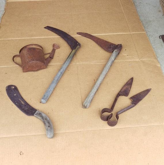 Antique Primitive Garden Tools Ornaments Rusty Junk Old