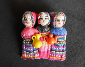 Large Guatemalan Worry Dolls Brooch, Pin, 3 Colorfully Dressed Mayan Style Dolls Carrying 2 Pitchers, Pink, Blue, Gift for Counselor