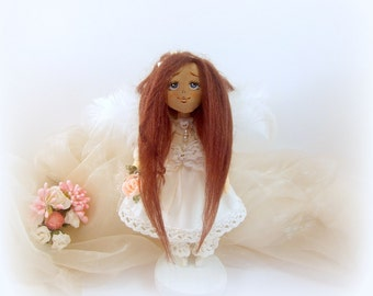 """Textile, art, interior,fabric handmade doll """"Angelina"""", small doll, angel, 7,3 inches, white, pink, doll on pedestal, doll as gift, for girl"""