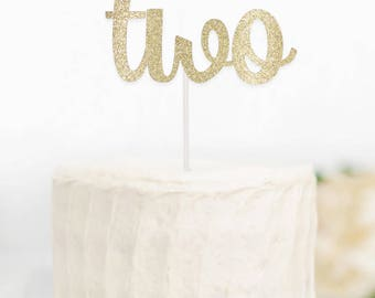 Two Gold Cake Topper, 2 Gold Cake Topper, Age Cake Topper, Gold Cake Topper, Glitter Cake Topper, 2nd Birthday, Pink and Gold TwoGoldCake