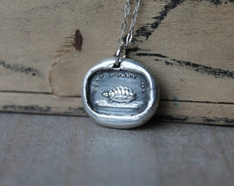 Turtle wax seal fine silver charm