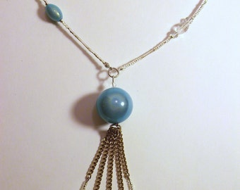 Necklace beads, turquoise and bright with channels + earrings ears + bracelet