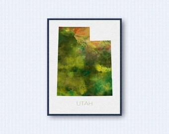 Utah Map Watercolor Poster, United States Map Print, Green Version