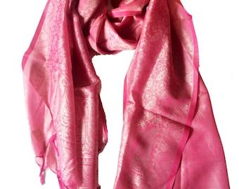 Pink Paisley scarf,Pink Silk Shawl,Silk Wrap,kashmiri scarf,Scarf,rebozo,Indian Paisley Fabric,head scarf,Henna design-banaras silk stole