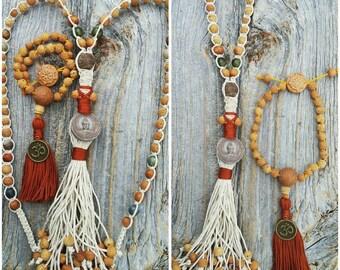 Dharma Wheel Pocket Japa Mala, Bodhi Seed Bead Mala, Pocket Prayer Beads, Clay Buddha Amulet Hemp Necklace, Bodhichitta Mind Meditation  Set