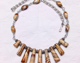 Picture  Jasper  and  Sterling Silver Necklace