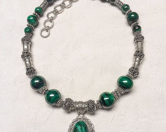 Malachite and Sterling Silver Necklace