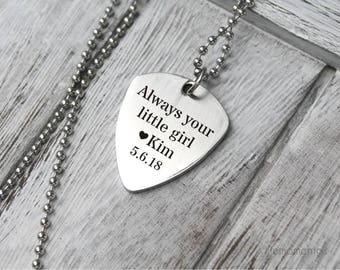 Engraved guitar pick necklace, custom text, gift for father of the bride, personalized guitar picks