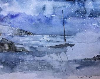 Stormy Seas - Instant download, digital download, printable watercolor art