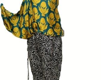 Women Jumpsuit One Shoulder, Designer Original Sana Safinaz, Digital Silk Jumpsuit, Medium