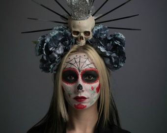 Virgin Mary Halo Day of the Dead Headdress Lady Guadalupe Dark Blue Flower Crown Skull Dia de los Muertos Headpiece Gothic Glitter Headwear