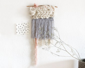 Hand-woven tapestry. Pale pink | Cloud | Merino Wool. Black and white | Pastel | Tapestry | Boho