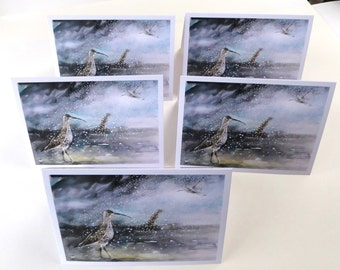 5 Wintery Curlew Greetings Cards.
