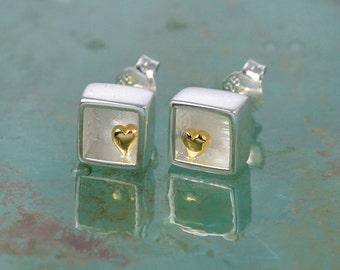 Heart of Gold Sterling Silver Cube Stud Earrings / Post Earrings for Pierced Ears / Gold and Silver jewellery