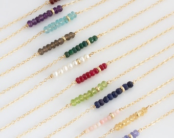 Birthstone Layering Necklace/Simple Mothers Birthstone Necklace/Gemstone Bar Necklace/Dainty/Gift for Her /Bridesmaids Gift Jewelry/N254