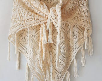 Knitted milky summer shawl, knitted cotton shawl, ecru shawl, white cotton shawl, cream shawl, lace cotton shawl, cotton wedding shawl