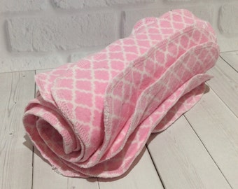 Flannel Wipes - Cloth diaper wipes - Reusable baby wipes- Pink and White