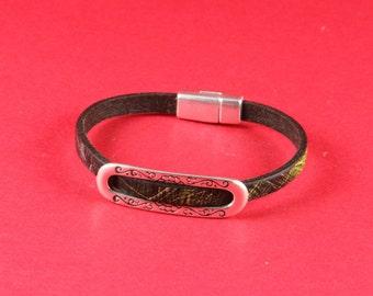 3/6 MADE in EUROPE zamak slider bar, flat cord spacer bar, silver engraved slider bar (9389-0077) Qty1