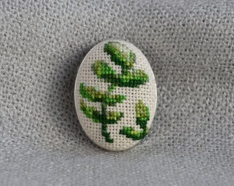 Branch brooch Cross stitch brooch Embroidered jewelry Oval brooch Handmade brooch Green branch Green jewelry Gift for her Green brooch