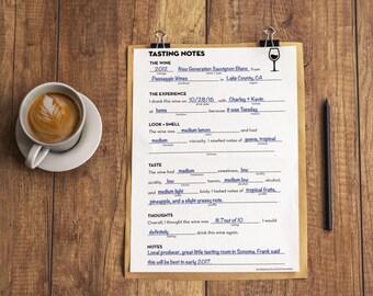 Wine Tasting Notes Notepad