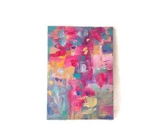 Pink Modern Abstract Art. Small Original Abstract Painting. Colorful Abstract Art. Contemporary Abstract. Bold pink abstract art. wall art.
