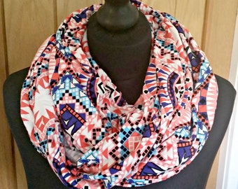 Infinity Scarf, jersey scarf, Aztec print, circle scarf, tube scarf, wrap scarf, multiway, stretchy fabric, printed fabric