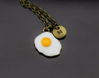 Bronze Fry Egg Charm Necklace Egg Pendant Egg Fry Charm Personalized Necklace Initial Charm Initial Necklace Customized Monogram Jewelry