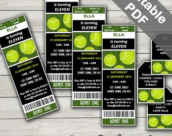 Tennis Party Invitations & Tennis Party Favor Tags. Editable PDF. Printable. Instant Download.