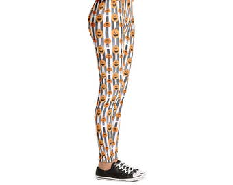 Pumpkin Stripe Halloween Leggings - Women's Active Wear Pants - Holiday Yoga Pants - Sizes XS to XL - Polyester/Spandex - Gift Idea for Her