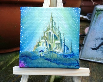Handpainted Ariel the little mermaid underwater castle mini painting minature Disney art