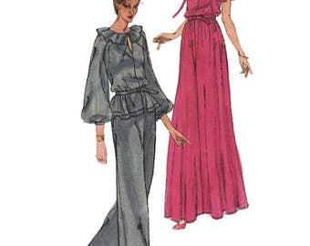 Vintage 70s Vogue 1835 Jean Muir Evening Top Skirt Pants Sewing Pattern Size 14 Uncut FF