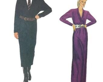 Vintage 80s Vogue 1059 American Designer Anne Klein Evening Gown Wrap Dress Sewing Pattern Size 12