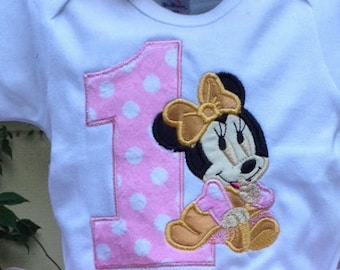 Pink Gold Baby Minnie Mouse 1st Birthday Onesie Baby Girl Little Toddler