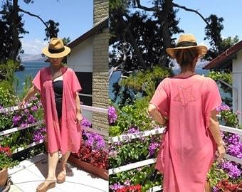 Swimwear Cover- up     Boho chic Gauze Kimono     Coral Color Kimono Cardigan      Star Embroderied     Women's Clothing