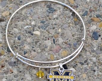 University of Michigan expandable U of M Wolverines Swarovski bracelet
