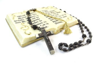 Vintage Rosary - Catholic Rosary - Black Prayer Beads - Rosary Beads - Black bead rosary - French Rosary