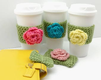 Green Crochet Cup Cozy: Coffee/Tea Sleeve with flower (Yellow, Blue, Pink, or Light Pink)    [049]