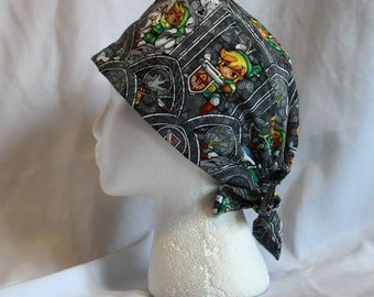 Gray Stained Glass Zelda Link Surgical Scrub Cap Chemo Hat