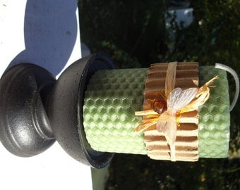 "Hand Rolled, Honeycomb Beeswax Pillar Candle, Cilantro Green, 3"", Beeswax Candles"