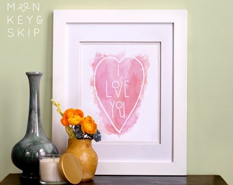 """Nursery Wall Art Print – I Love You Pink Heart – Unique Baby Shower Gift and Baby Room Decor for Girl or Boy – 5""""x7"""" or 8""""x10"""""""