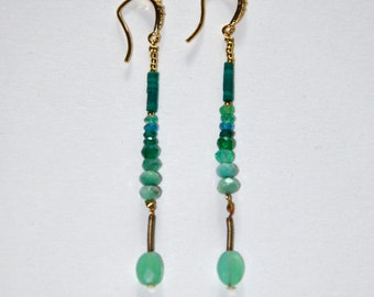 Long vintage earrings micro Turquoise and Jade green Chrysoprases