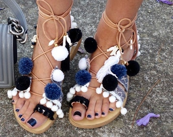 POM POM sandals, Leather sandals, Gladiator sandals, Womens shoes, Boho sandals, Handmade sandals, Womens sandals, Gifts, Greek sandals