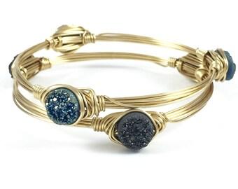 Mini Druzy Wire Wrapped Bangle - Wire Jewelry - Drusy Bracelet - Minimalist Jewelry - Gift Under 25 - Gift for Her - Courtney And Courtnie