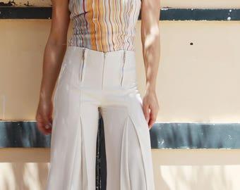 Vintage multi color striped silk halter top.size s