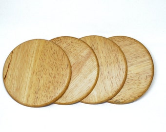 Set of 4 Wooden Round Coasters   Drinks Coasters   Housewarming Gift   Home Decor   Handmade Coasters   Wine Coasters   Kitchen Decor