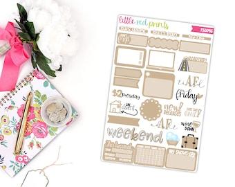 Tan Functional Sampler Number 2, Planner Stickers for the Erin Condren Life Planner, Sampler Sheet - [FS0046]