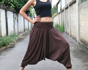 Dark brown triangle cotton pants, Harem pants,Hill tribal pants, Yoga pants, Hippie hmong pants , festival pants